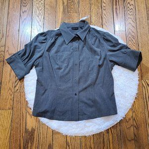 NWT New York & Company Gray Button Down Blouse